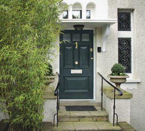 British Racing Green door: smart and elegant