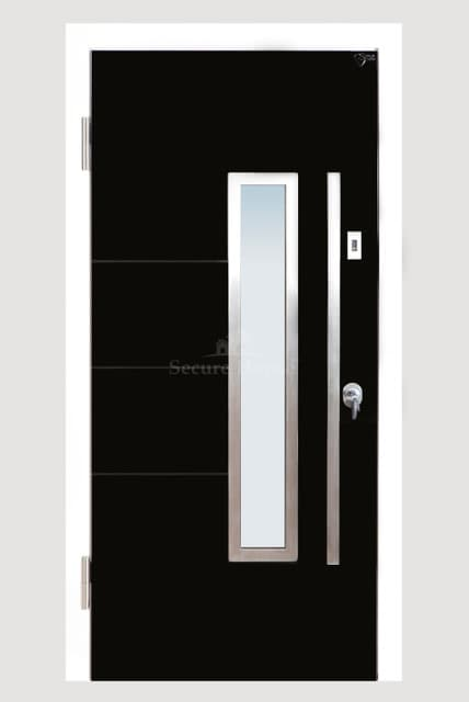 Black flush door with glazed panel and stainless steel handle