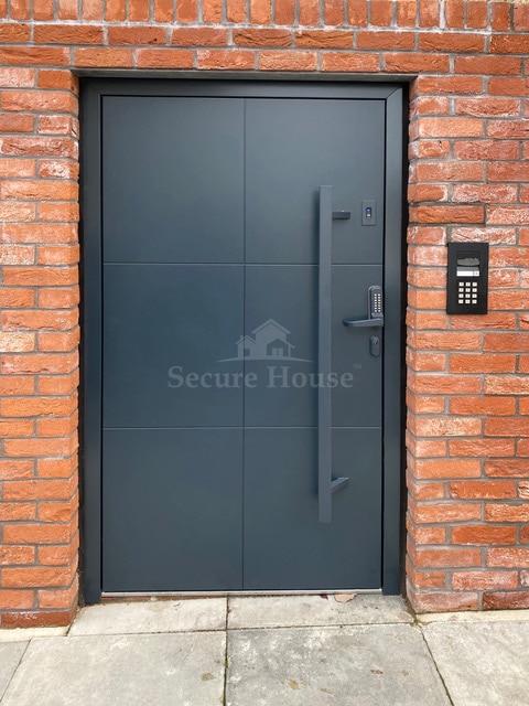 Grey panel flush door with keypad entry