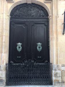Black double security door with the most incredible gargoyle door knockers