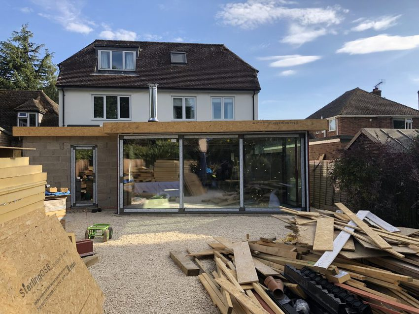 On-site installing folding doors in a stunning extension!