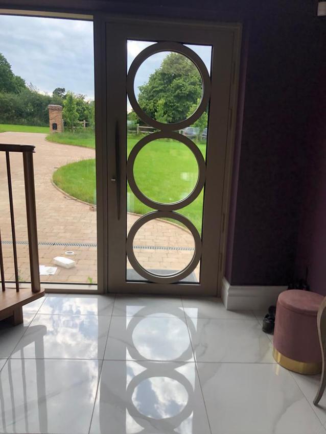 View from indoors: Art Deco design door